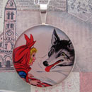 Red Riding Hood and the Wolf Sterling Pendant