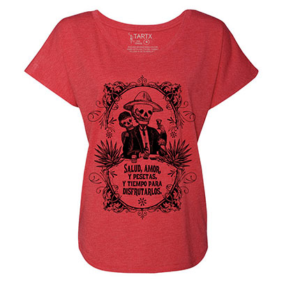 Calavera Couple Toasting Tri-Blend Dolman T-Shirt