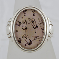 Sign Language Ring Cameo Style Ring