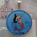 Loteria La Sirena - The Mermaid Sterling Pendant