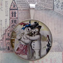 Snowman Couple Sterling Pendant