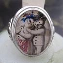 Vintage Snowman Couple Cameo Style Ring