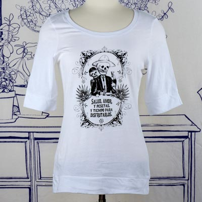 Calavera Fiesta Elbow Length White T-Shirt