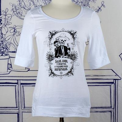 Calavera Fiesta Elbow Length White T-Shirt