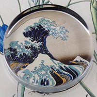 Great Wave Glass Round Paperweight