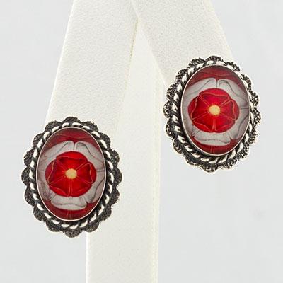 Tudor Rose Oval Post Earrings