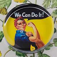 We Can Do It! Glass Round Paperweight