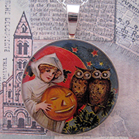 Witch with Pumpkin and Spooky Owls Sterling Pendant
